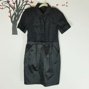 CLUB MONACO Black Shirt Dress w Pockets Size S